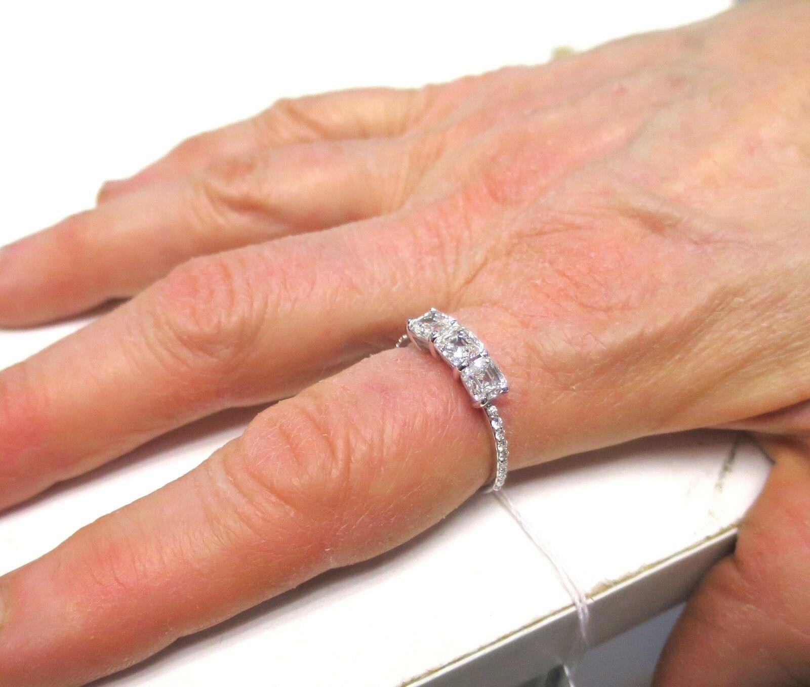 GIA E VS1 2 carat, 3 Asscher cut Diamonds 14k white gold Ring Band #115 6
