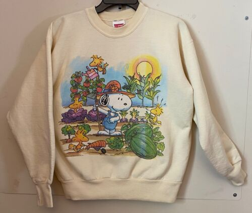 Vtg Peanuts Snoopy Woodstock Sweatshirt M Garden Theme Made in USA Hanes