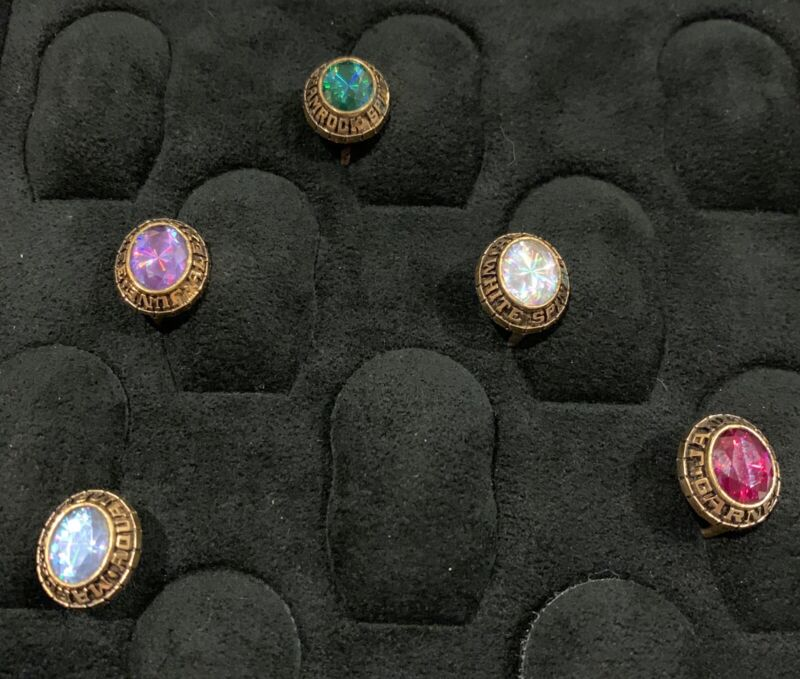 Vintage Jostens College Ring Top Jewelry Counter Display Gem Birth 5 Stones