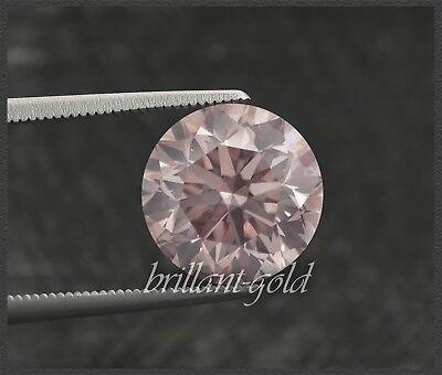 Diamant mit GIA Zertifikat 0.23 ct, in seltene Farbe pink, Brillant unbehandelt