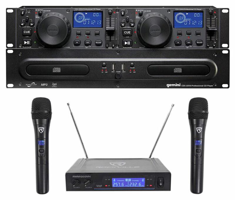 Gemini CDX-2250i DJ Dual Two Deck CD/MP3 Media Player+Dual Wireless Mics