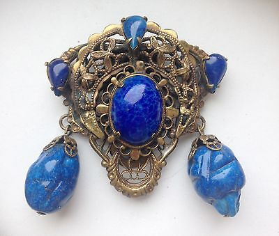 ANTIQUE DRESS SCARF CLIP FREE FORM SHAPE BLUE STONES BRASS WITH FILIGREE STAMPED