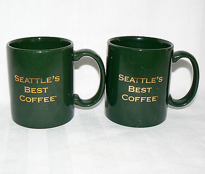 SEATTLE'S BEST 10 OZ PAIR SET OF 2 HOLIDAY GREEN GOLD COFFEE MUGS