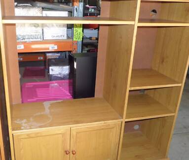 70's Style TV unit with doors and shelving Bethania Logan Area Preview