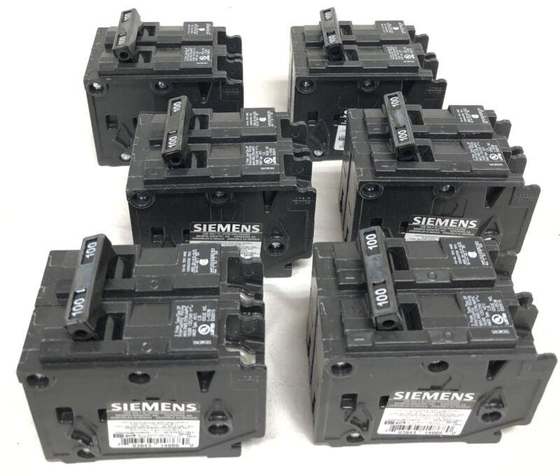 6 Siemens Q2100 Circuit Breakers New Open Box 2-Pole 100A 120/240V 60 Hz