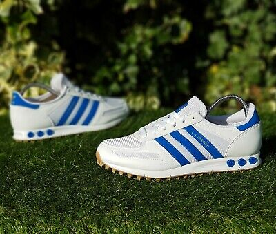 ❤ BNWB & Genuine Adidas Originals ® LA Trainer OG White Blue Trainers UK Size 11