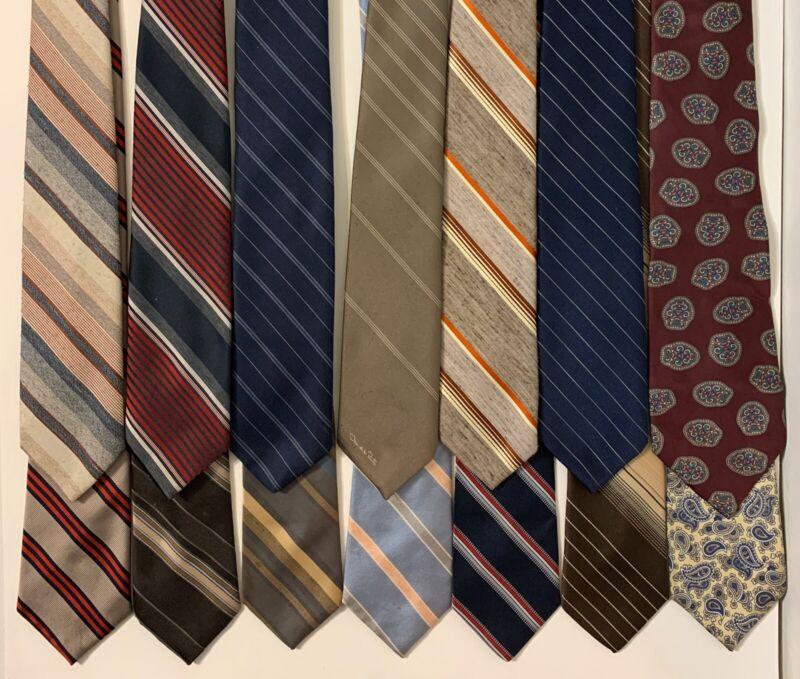 Lot 12 Vintage 80s Neck Ties Striped Paisley Geometric Red Blue Gray Bullocks