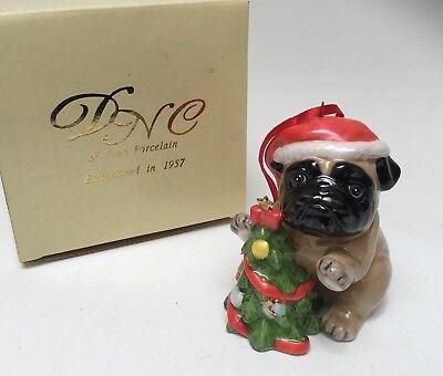 Pug in Santa Hat Dog Fine Porcelain Christmas Tree Ornament DNC New