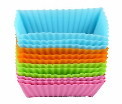 Bakerpan Silicone Mini Loaf Pan Cake Baking Cup Pastry Liners Rectangles 12 PC