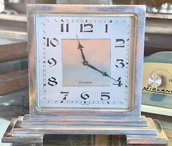 Beautiful Art Deco 8 Day Swiss Table Desk Clock Silver plated