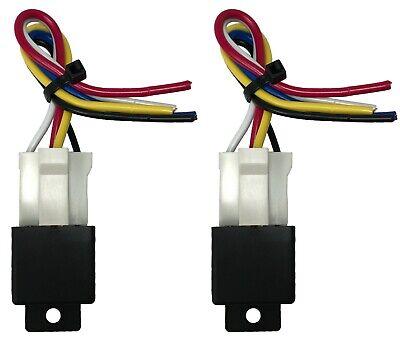 2 Beuler 4060 Amp Waterproof 5-pin Relay Panel W 2 6 Socket Wire Harness