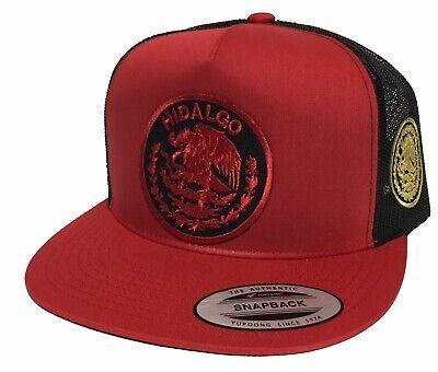 HIDALGO MEXICO LOPGO FEDERAL 2''AL LADO HAT 2 LOGOS RED BLACK MESH