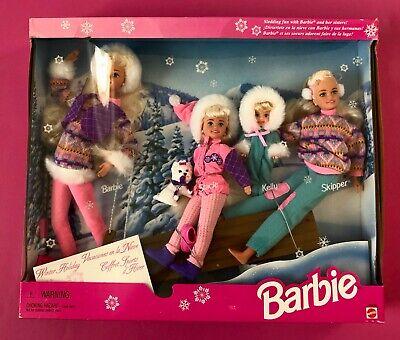 Gift Set Sledding Fun w Barbie, Koko, Stacie, Kelly & Skipper Dolls & Dog (1995)