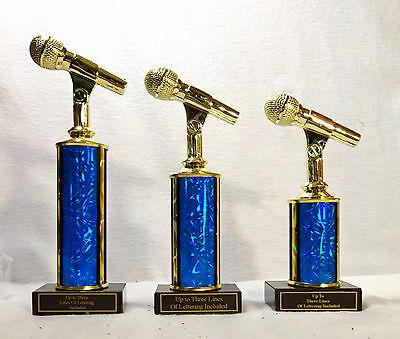 MICROPHONE TROPHY MUSIC  BLACK MARBLE BASE SET OF THREE  #8 KARAOKE EIGHT COLORS - Microphone Trophies