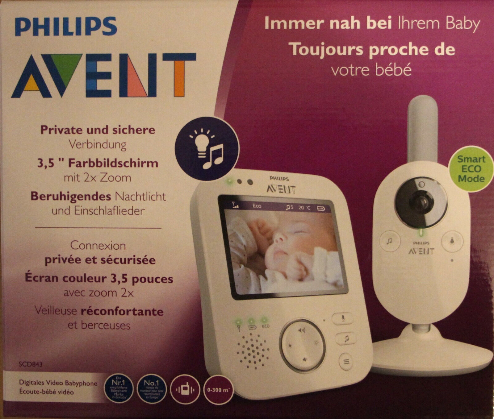 Philips AVENT SCD843/26 Video-Babyphone, 3,5 Zoll Farbdisplay, Eco-Mode NEU+OVP