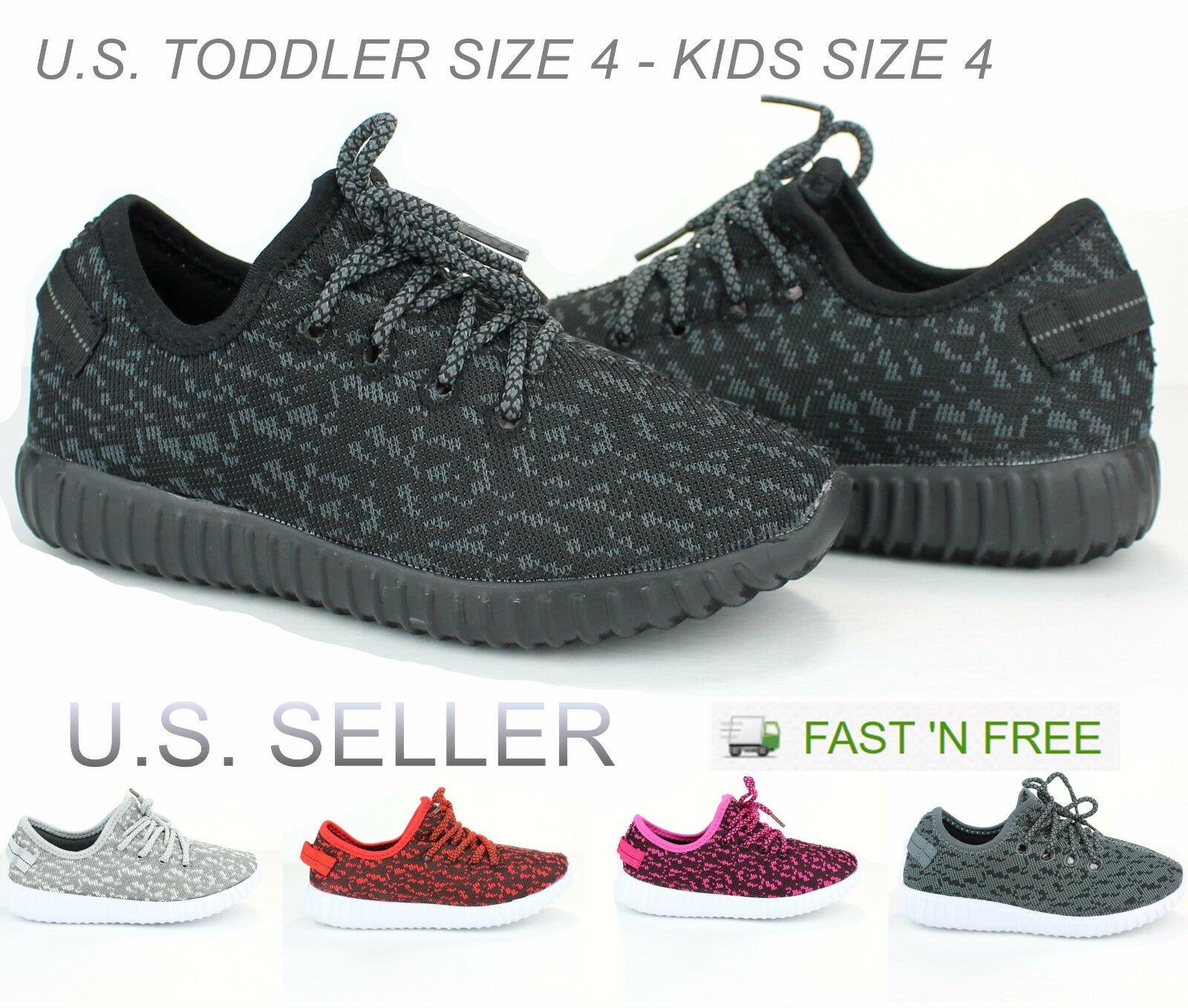 Childrens Kids Boys Girls Athletic Sneakers Sport Tennis Running Shoes Size:10-4