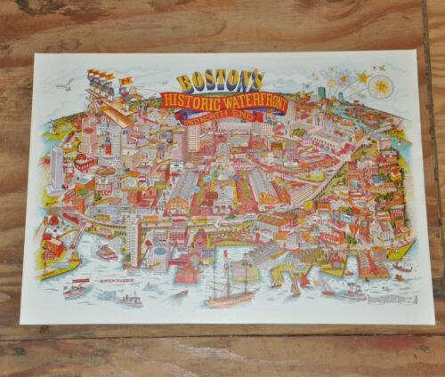 Vintage 1984 Boston Massachusetts City Character Print Drawing Map Poster Unique
