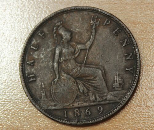 1869 Great Britain 1/2 Penny