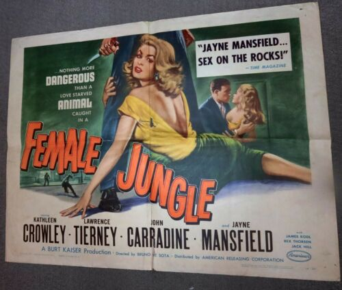 FEMALE JUNGLE 1956 ORIGINAL 22x28 VINTAGE Movie Poster-Jayne Mansfield FILM NOIR