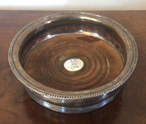 Antique 19th c. Regency Old Sheffield Silver Plate on Copper Wine Bottle Coaster