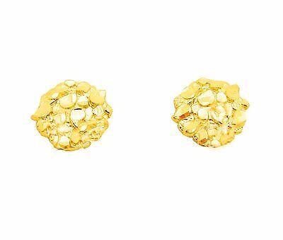 Men's Women's 10k Yellow Gold Small Nugget Earrings 0.6 -