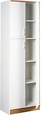Kitchen Pantry Storage Cabinet White 4 Door Wood Organizer 5 Shelves Furniture