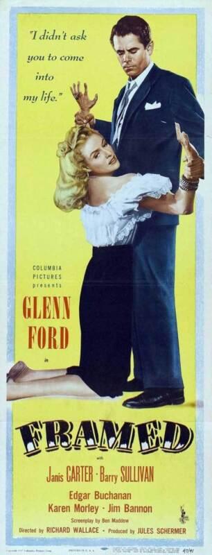FRAMED Movie POSTER 14x36 Insert Glenn Ford Janis Carter Barry Sullivan Edgar