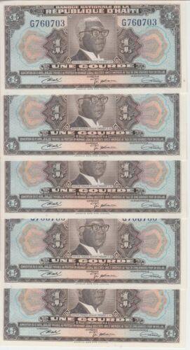 Haiti Banknote P200 1 Gourde CA. 1972 Prefix G, Lot of 5, UNC