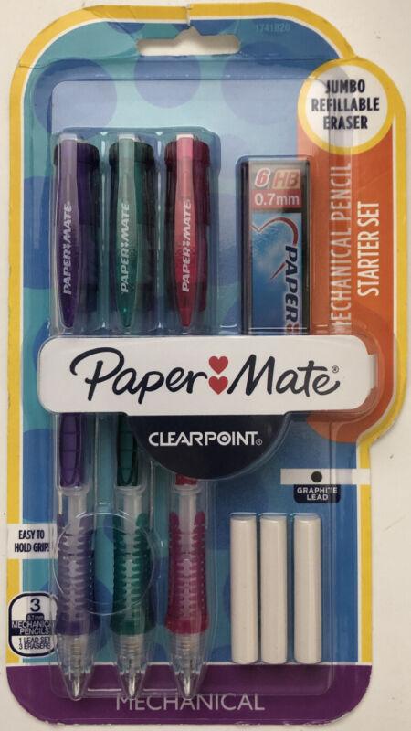Paper Mate Clearpoint Mechanical Pencil Starter Set Jumbo Refillable Erasers NIP