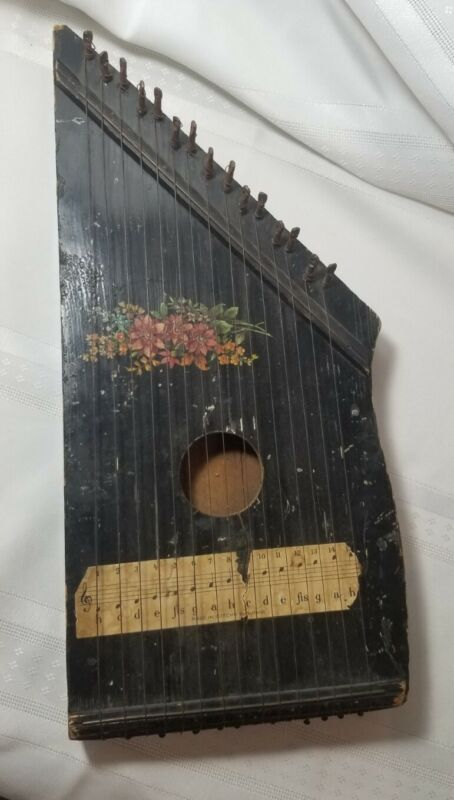 Vintage Decorative 15 String Zither Lap Harp Czechoslovakia