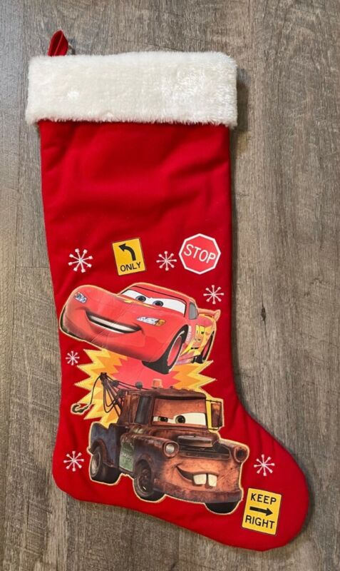 "Cars Lightning McQueen Mater Christmas 20"" Stocking Disney Pixar"