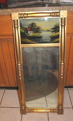 Vintage MIRROR REVERSE PAINTING ON GLASS COTTAGE SCENE frame - LOTH