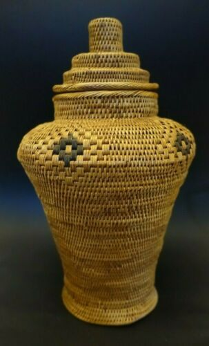 "PV-x ASIAN OLD RATTAN WOVEN LIDDED BASKET, fine work, urn shape 11"" high"