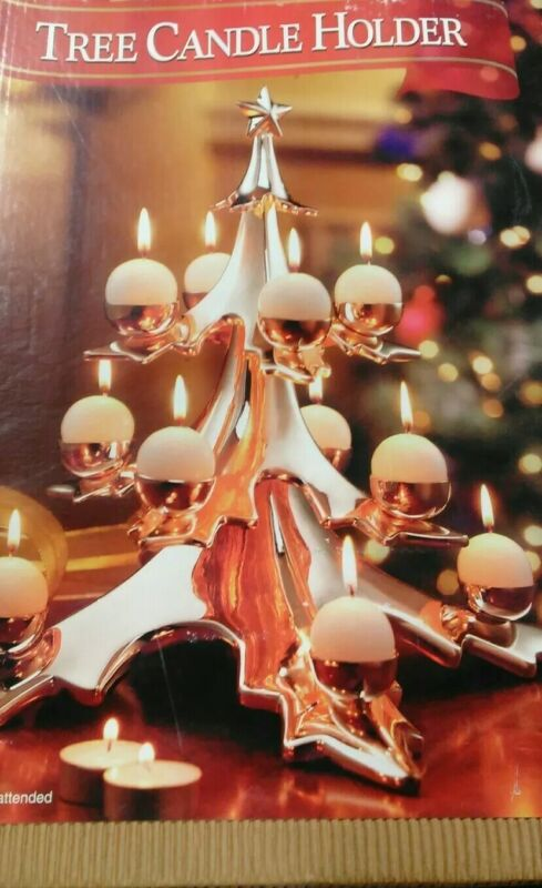 Sam's West Cast Metal Christmas Tree Votive Tealight Candle Holder Gold