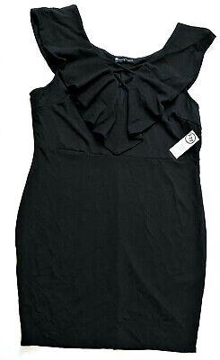 Fashion to Figure Ruffle Neck Cross Front Bodycon Dress, Black, Size 3X (22-24)