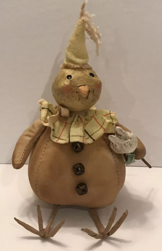 "Bethany Lowe Designs Vintage Folk Art Party Sitting Stuffed Easter Chick ""Rare"""