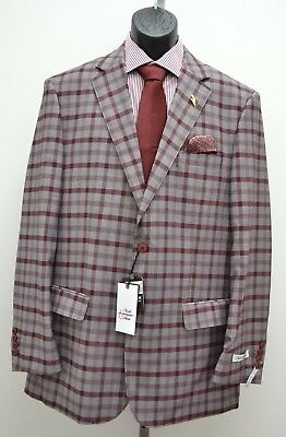 Mens Burgundy & Gray Plaid Single Breasted Modern Fit 2pc Suit