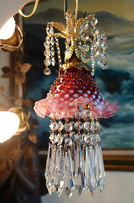 1of2 Vintage SWAG Fenton cranberry Jelly Fish ins Glass hanging brass Lamp