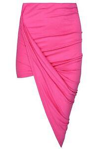 Womens Wrap Asymmetric Drape Ruched Maxi Party Side Split Slit Midi Mini Skirt
