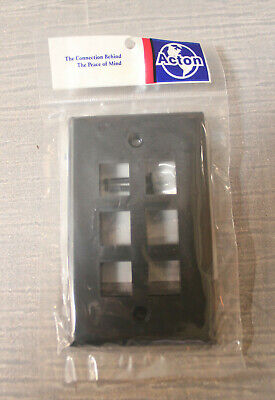 25x Acton Wall Plate 6 Plugs Whole Box Color Black 1 Z19