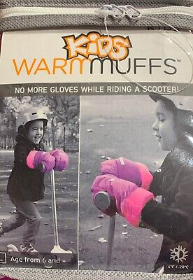 NEW -7am enfant KIDS WARM MUFFS - Large (Neon Pink)AGE 6+ Attach to SCOOTER/BIKE