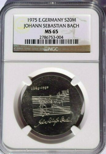 1975 East Germany 20 Marks, NGC MS 65, KM-59, J S Bach, Brilliant White