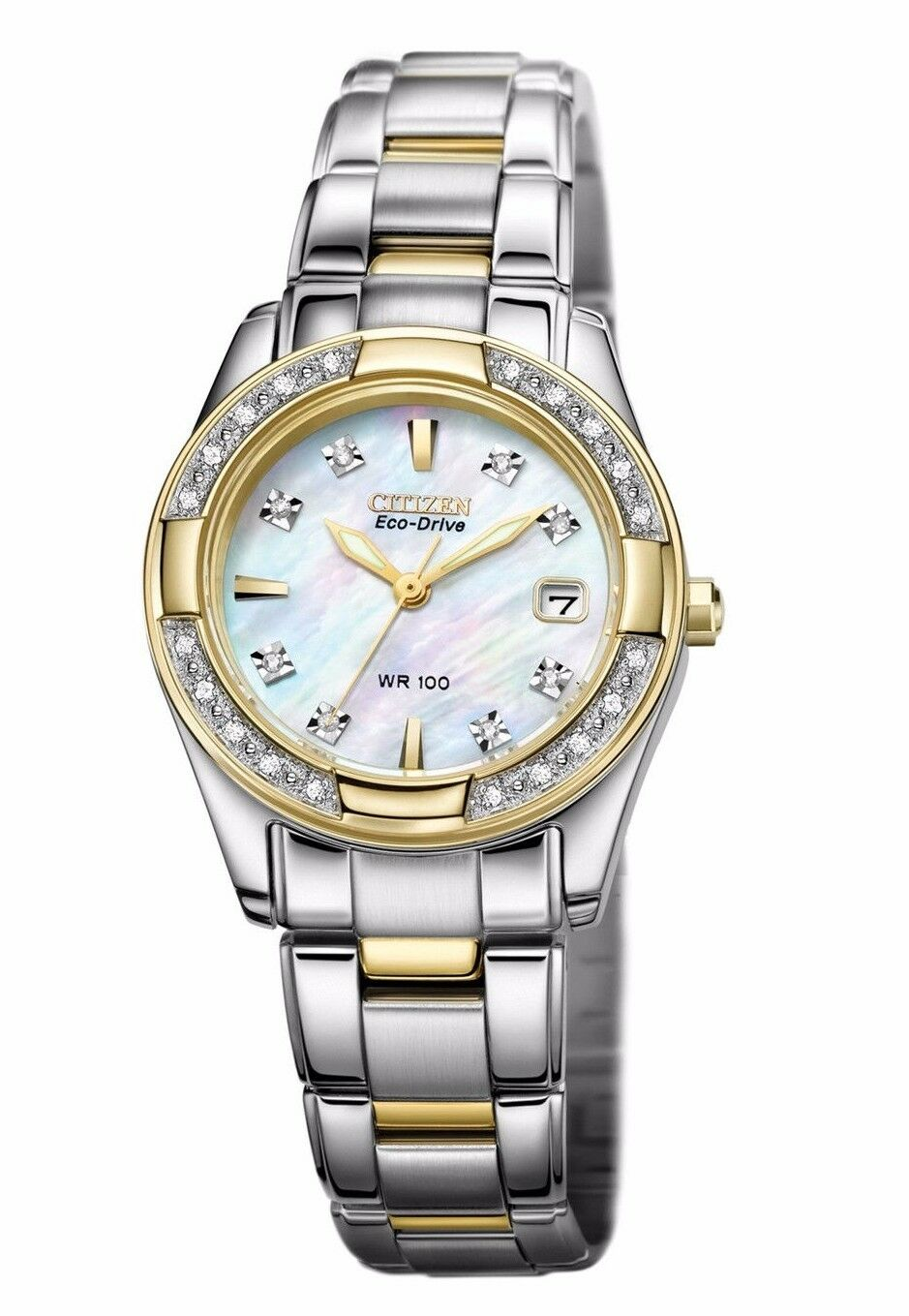 $135.99 - Citizen Eco-Drive Women's EW1824-57D Diamond Accents Mother of Pearl Dial Watch