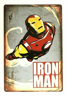 Iron Man Comic Book Tin Metal Sign Vintage Style Store Advertising Kids Room Art