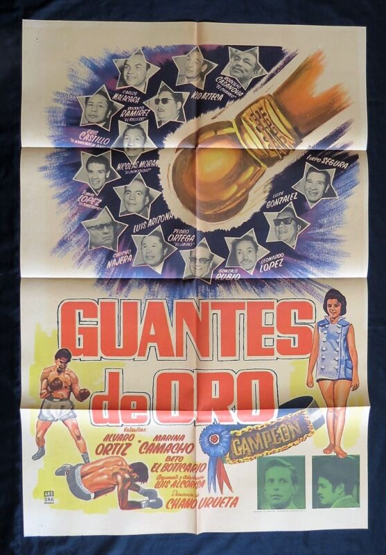 """GUANTES DE ORO"" BOXING MEXICAN MOVIE POSTER ALVARO ORTIZ 1959"