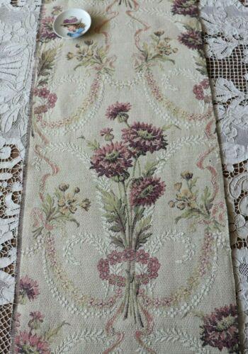 "Antique French Art Nouveau Floral Cotton Tapestry Sample Fabric c1920~35""X25"""