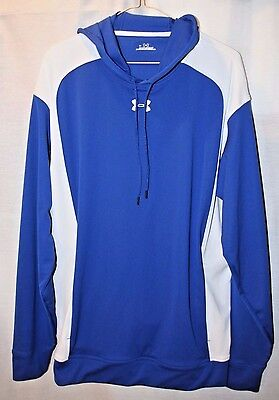 NEW! Men's Large Under Armour royal blue/white long-sleeve hooded athletic shirt