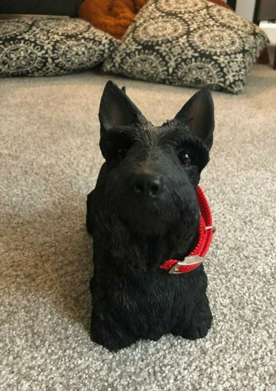 Scottish Terrier 12 inch Statue Figurine Black Resin Red Collar - Cute, Heavy!