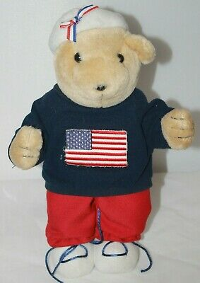 Plush Bear Stuffed Toy Animal Sweater w/ Flag and Beanie Stand up Red White Blue - Bear Standing Up