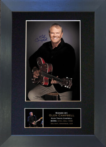 GLEN CAMPBELL Signed Mounted Reproduction Autograph Photo Prints A4 279